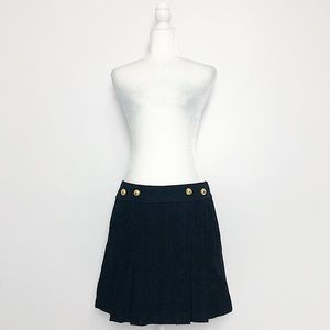 Milly of New York Black Wool Textured Pleated Mini Skirt 8